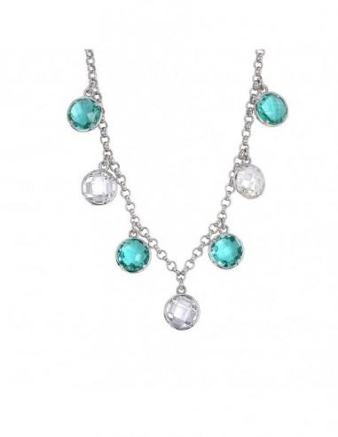 Collana con cristalli pendenti verde acqua e crystal