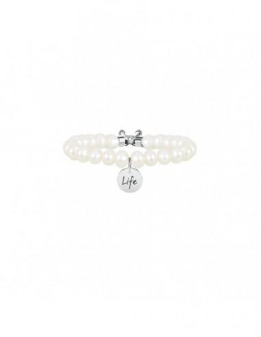 Bracciale perla coltivata e acciaio 316L
