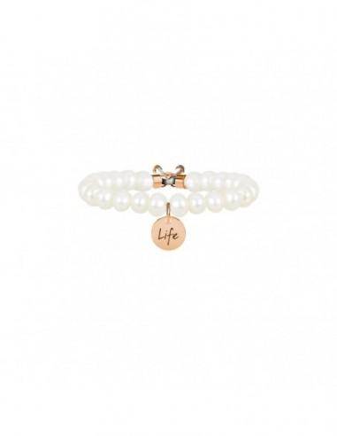 Bracciale perla coltivata e acciaio 316L Pvd Rosè