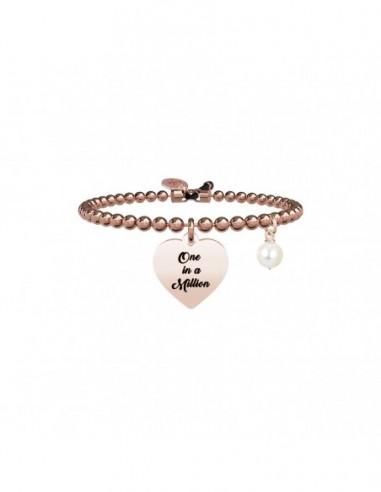 Bracciale perla coltivata e acciaio 316L Pvd Rose'